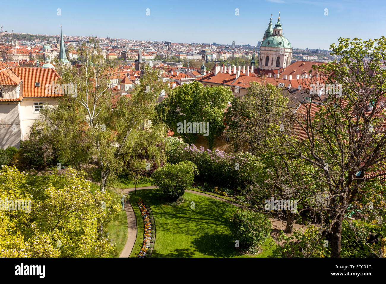 Southern gardens of Prague Castle, St Michael\'s Church in Mala Stock ...