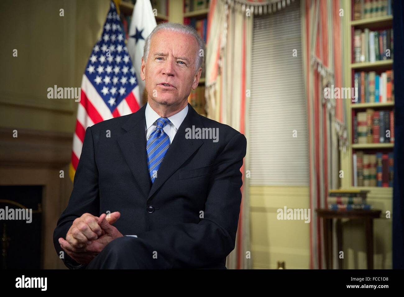 U.S Vice President Joe Biden delivers the weekly radio address on standing against terror November 21, 2015 in Washington, - Stock Image