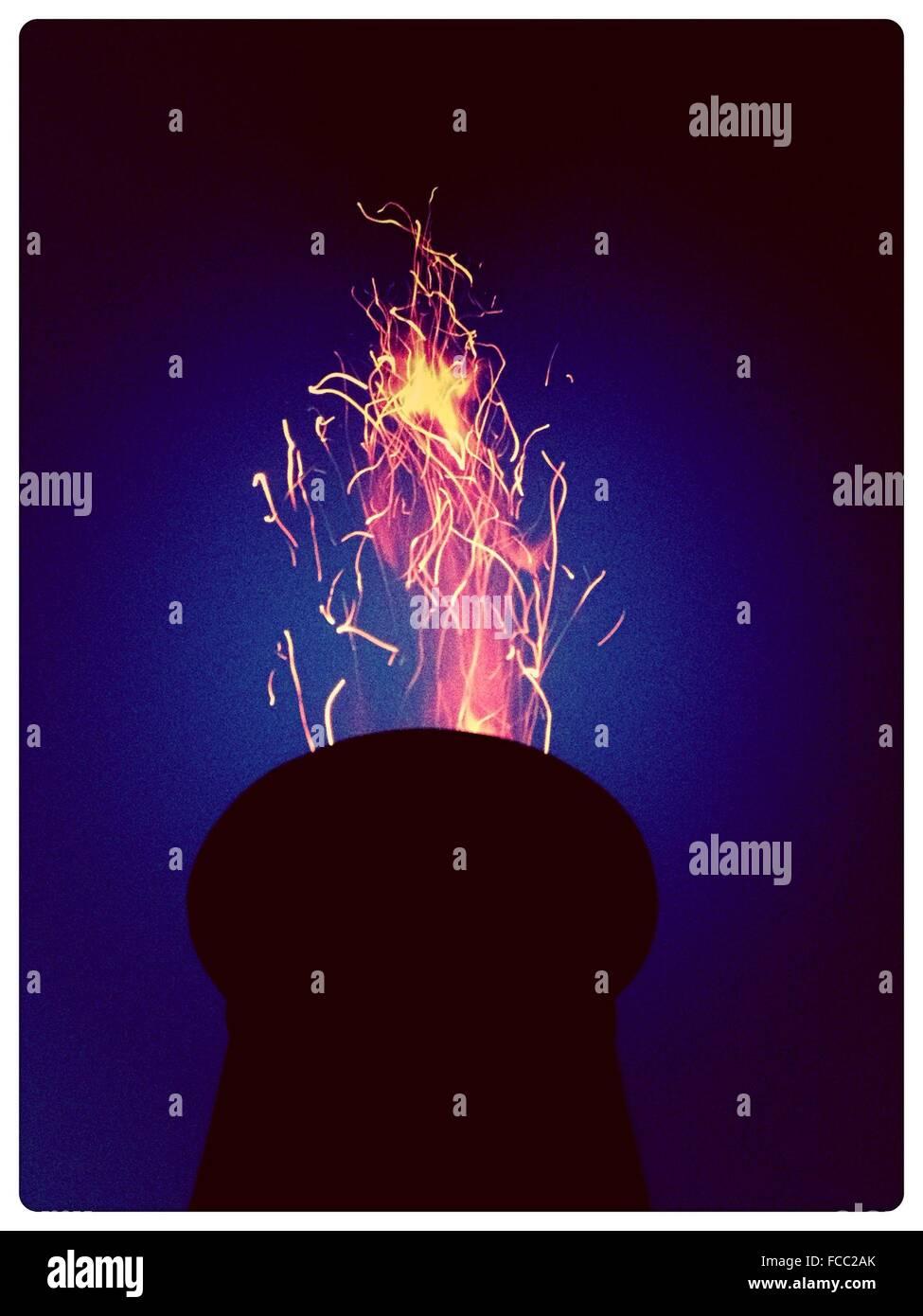 Flames At Night - Stock Image