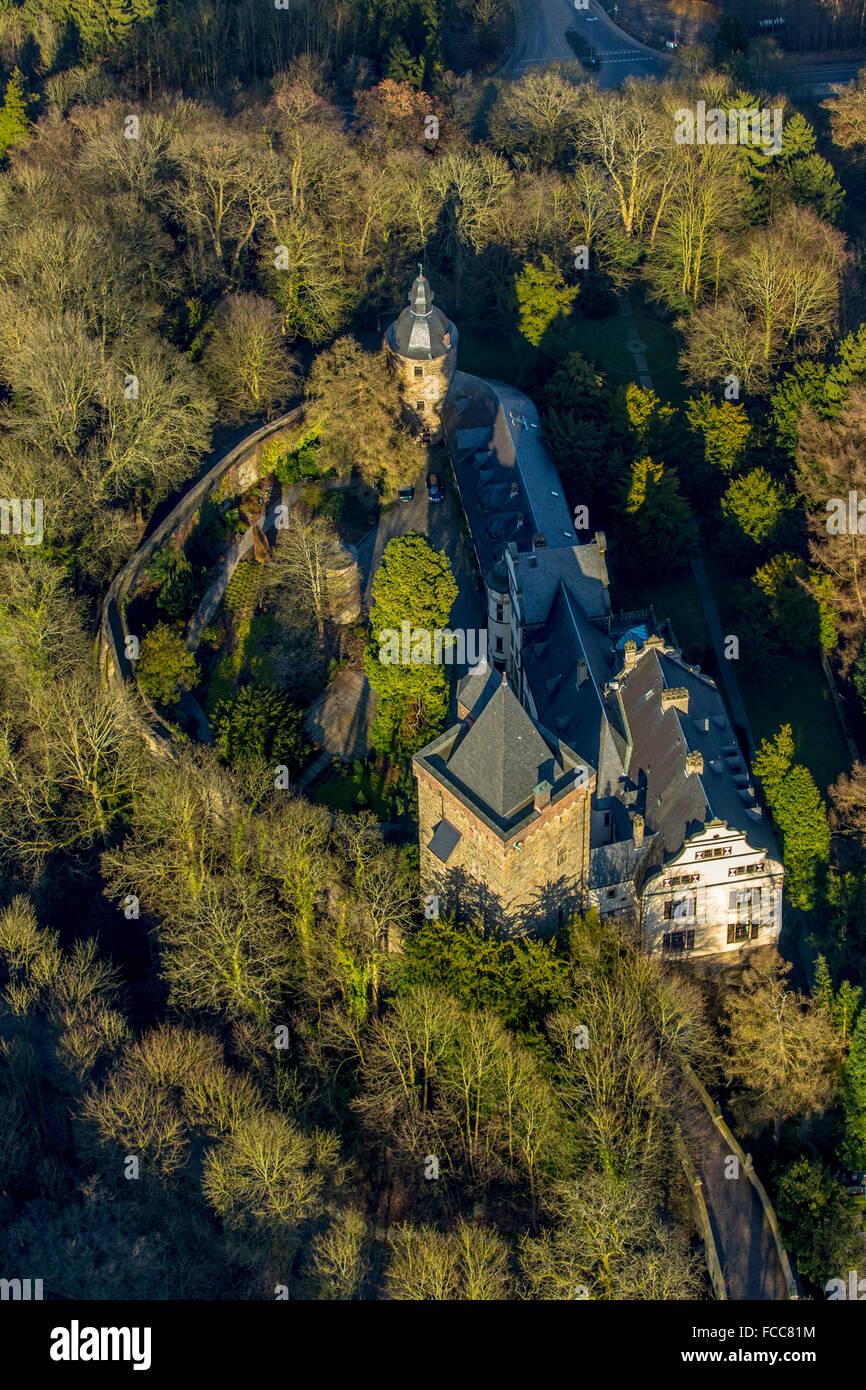 Aerial view, Landsberg Castle, Essen, Ruhr area, North Rhine-Westphalia, Germany, Europe, Aerial view, birds-eyes - Stock Image