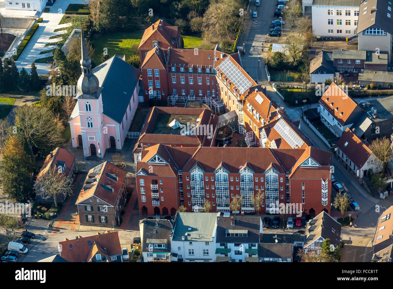 Aerial view, Schinkel Church St.Peter with Altenheim St.Josefshaus, Essen, Ruhr area, North Rhine-Westphalia, Germany, Stock Photo