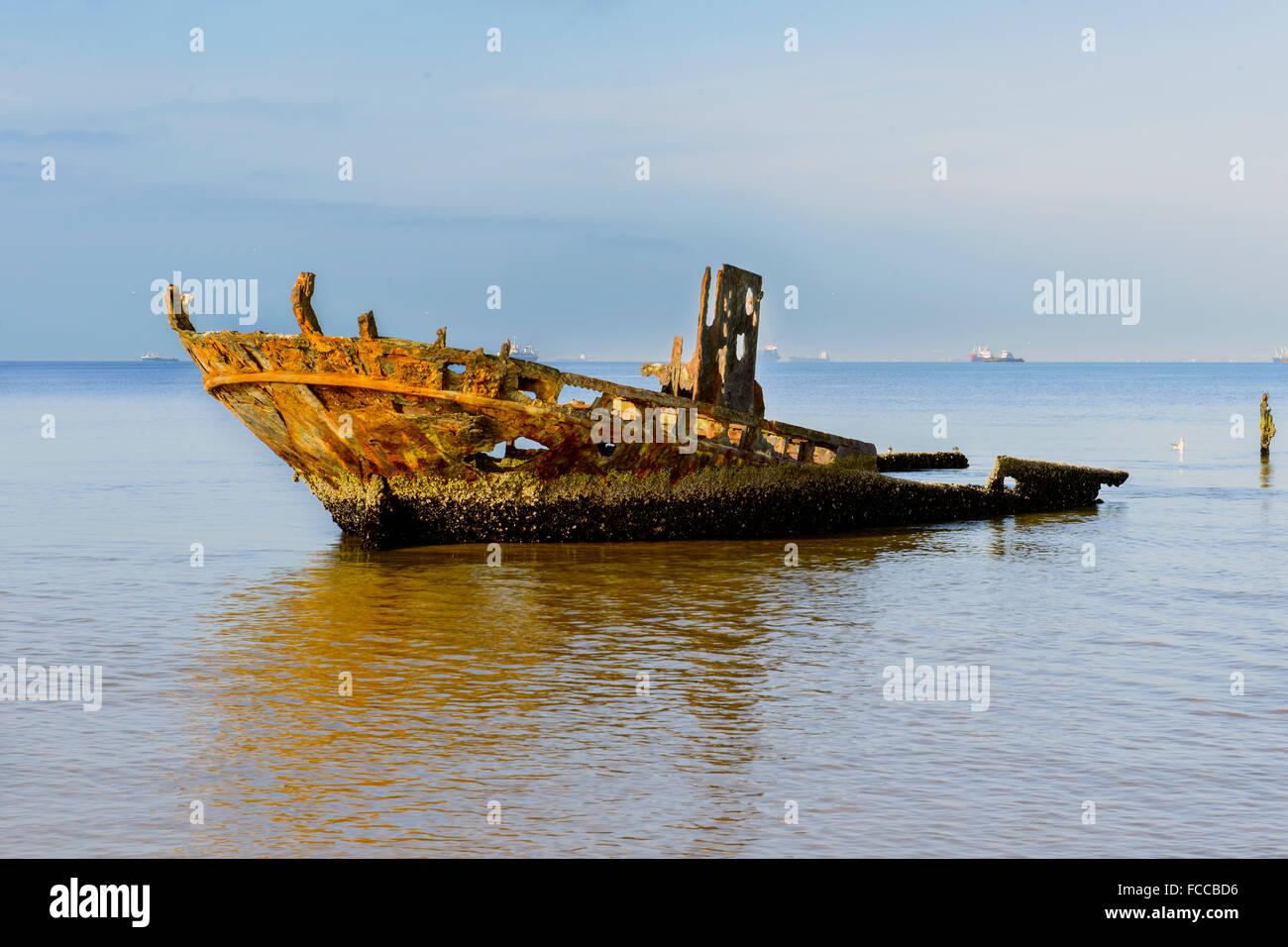 Old shipwreck, Walvis Bay, Skeleton Coat, Namibia - Stock Image