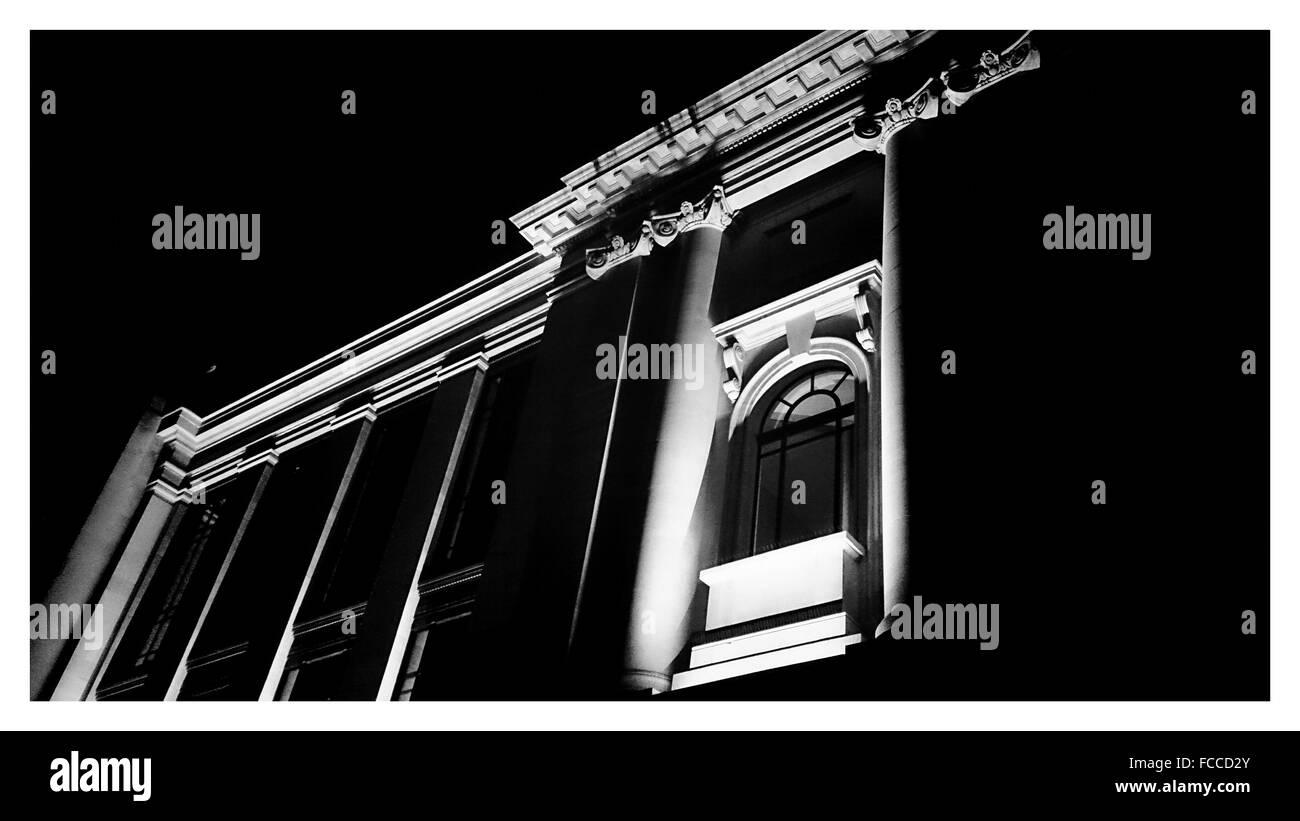 Low Angle Shot Of Illuminated Building - Stock Image