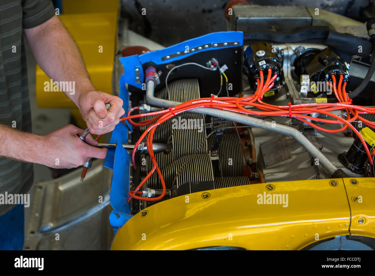 Engine Wiring Stock Photos Images Alamy Aircraft Aviation Mechanic Working On Airplane Image
