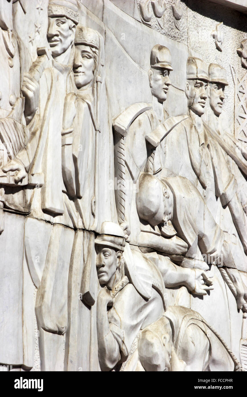 A closed up view of the Relief on the Monument To The People's Liberation Army's March Into Xinjiang,Urumqi,Xinjiang,China - Stock Image