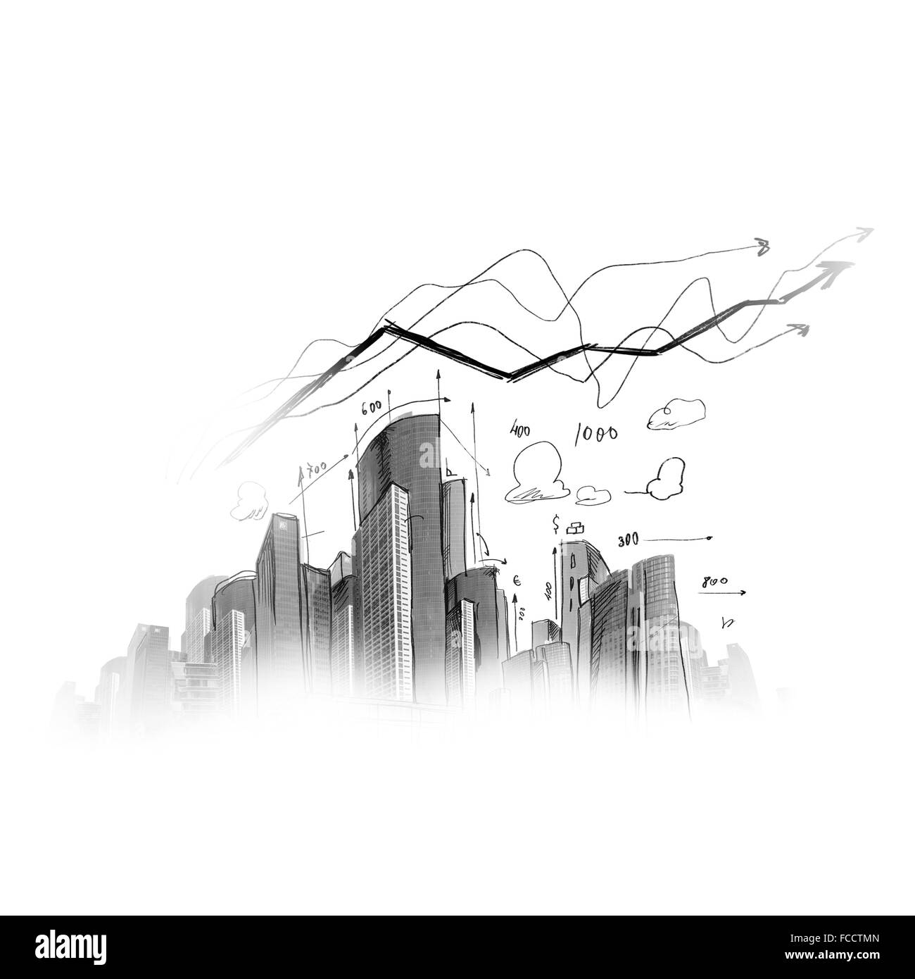 Background image with model sketch of modern city Stock Photo