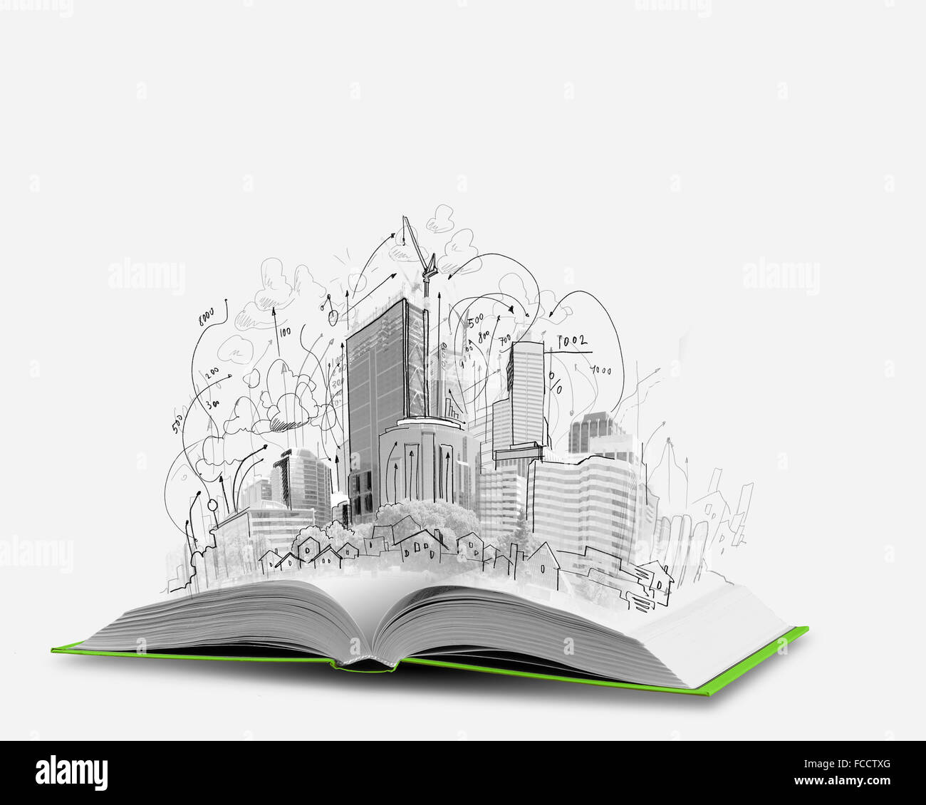 opened book and hand drawing building sketches stock photo 93710696
