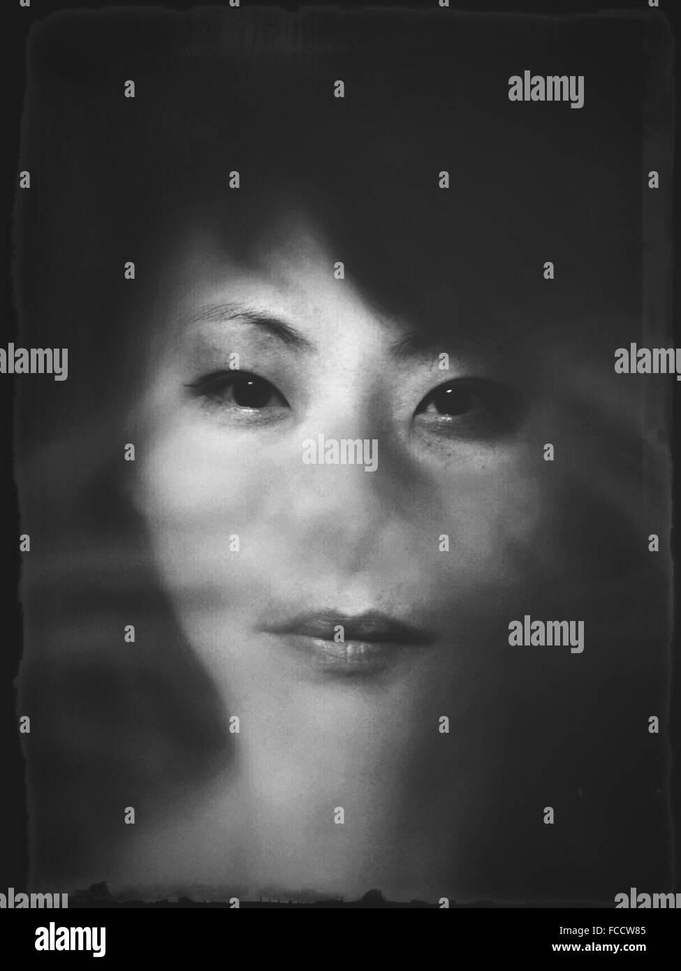 Close-Up Portrait Of Woman - Stock Image
