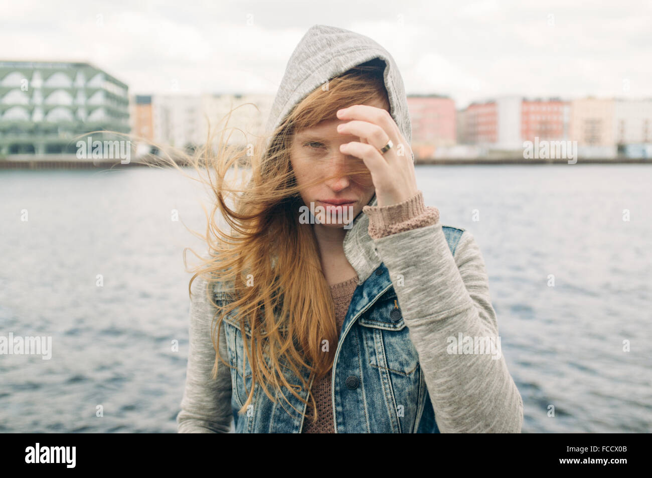 Young Red Haired Woman Sightseeing - Stock Image