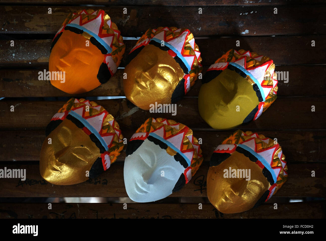 Malang, Indonesia  21st Jan, 2016  Souvenir masks puppet in