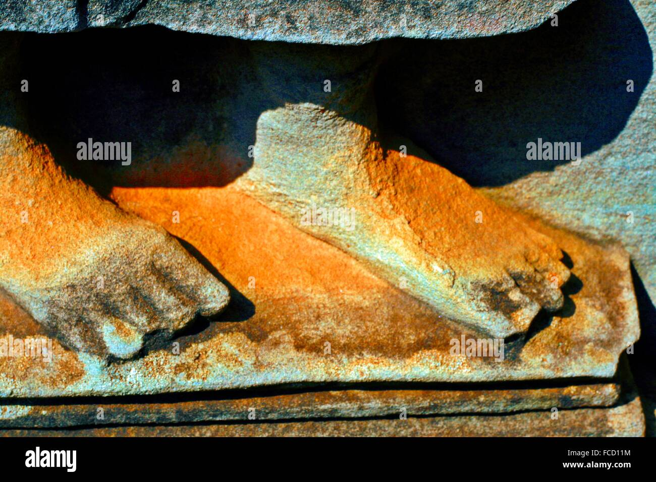 Close-Up Of Human Feet Made From Stone - Stock Image