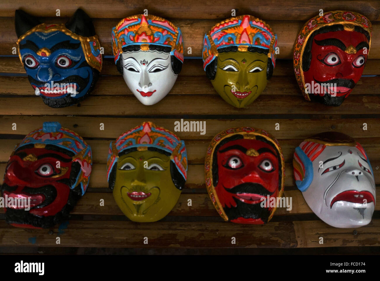 Malang, Indonesia  20th Jan, 2016  Souvenir masks puppet in