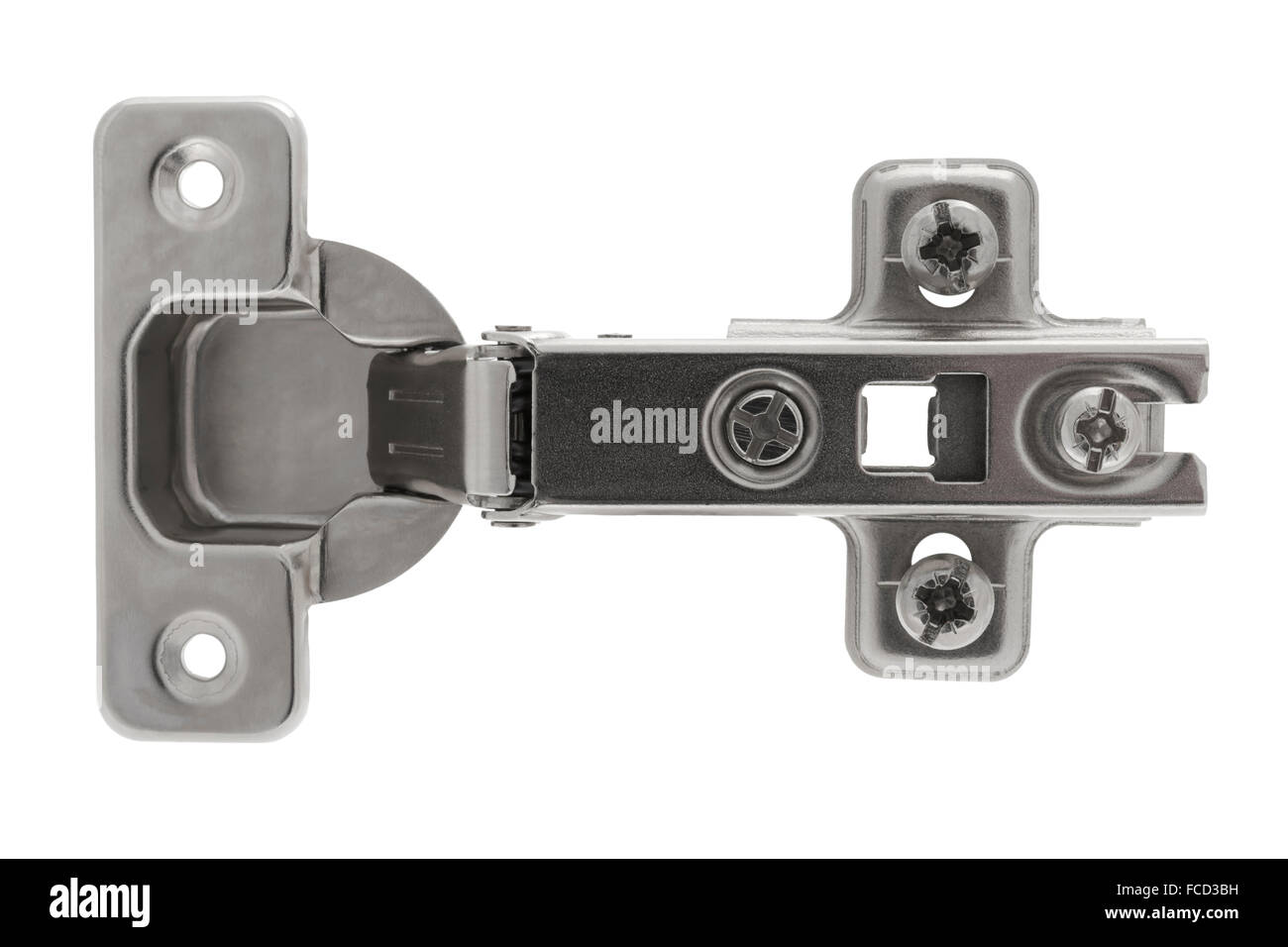 Sprung concealed clip on hinge on white background - Stock Image