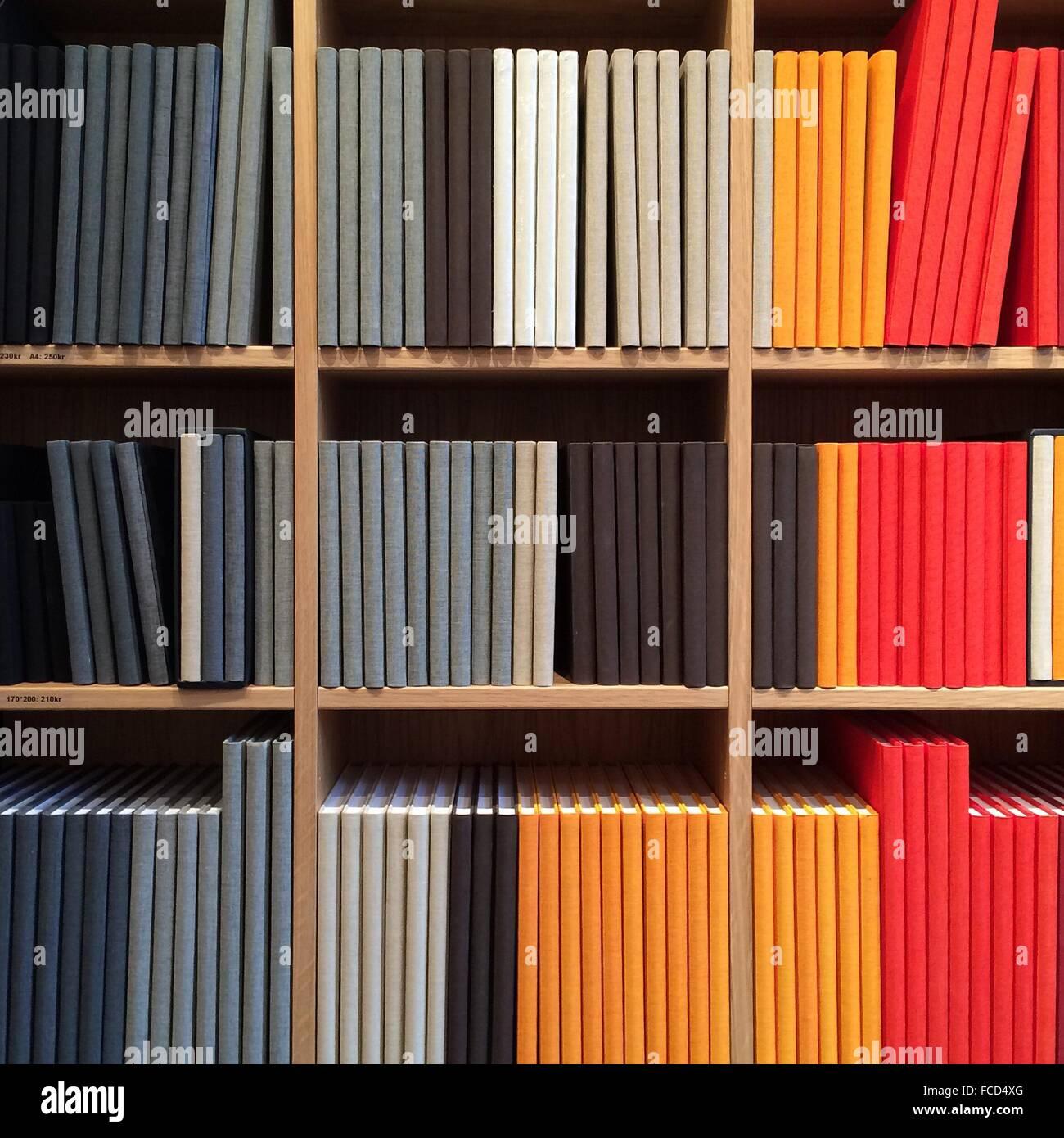 Full Frame View Of Bookshelf - Stock Image