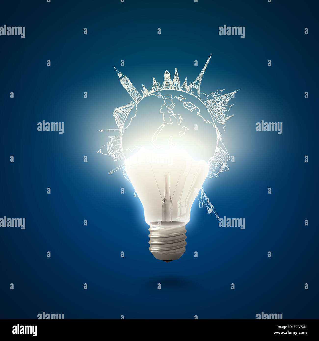 Conceptual image of electric bulb against blue background - Stock Image
