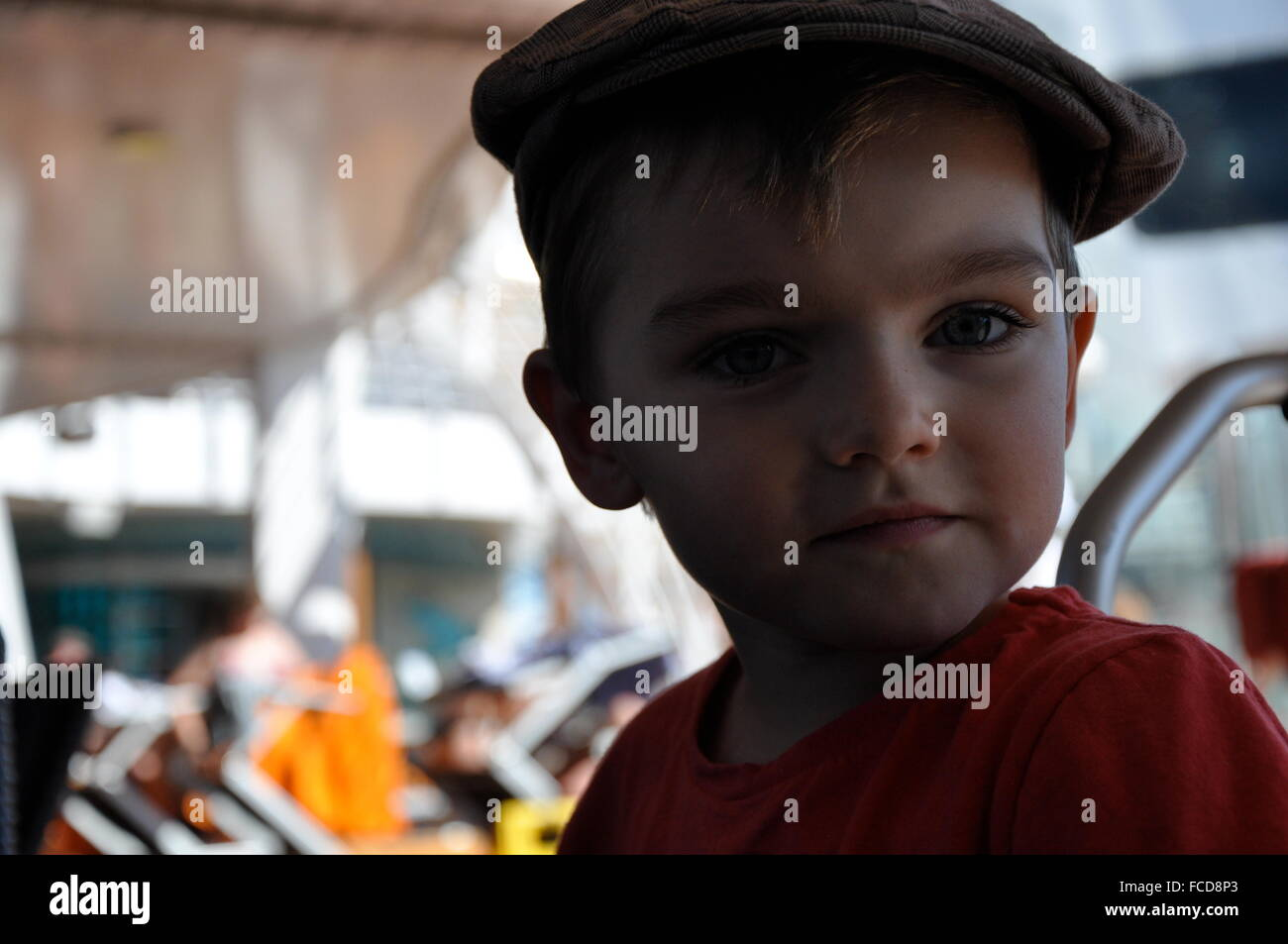 Portrait Of Cute Boy In Amusement Park - Stock Image