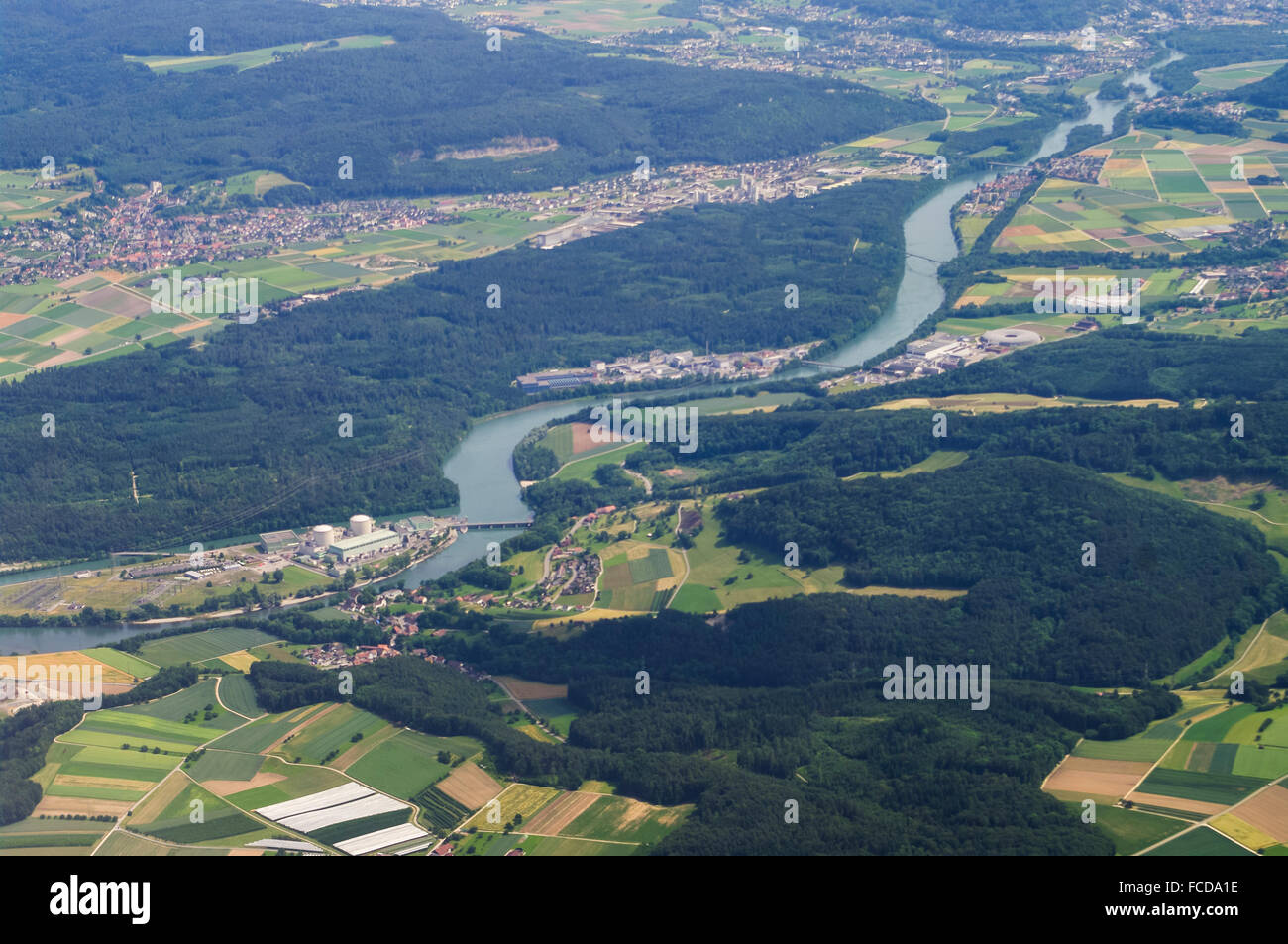 Aerial view of Aare river, Beznau nuclear power plant and close-by villages of Villigen and Würenlingen in - Stock Image