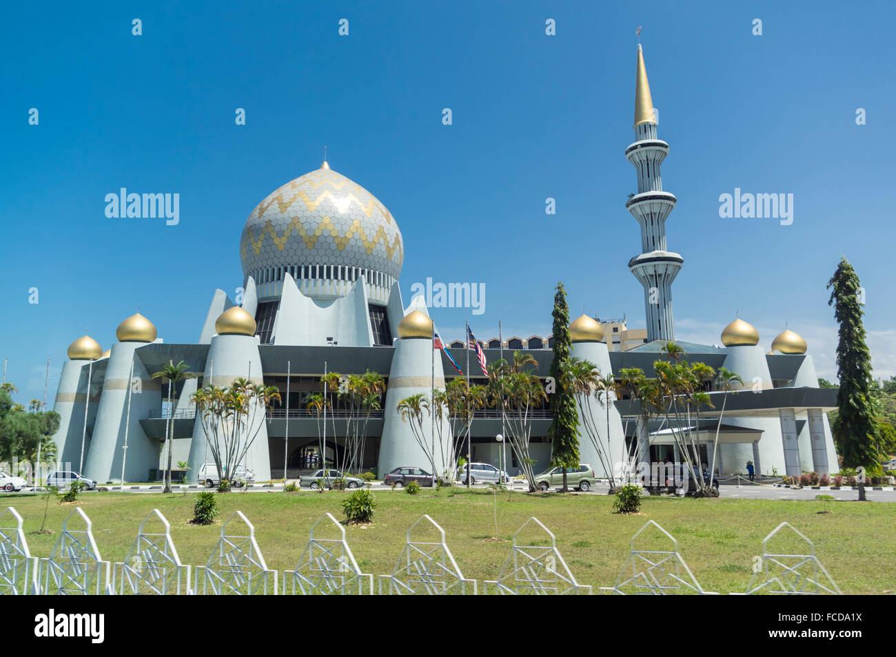 Masjid Negeri Sabah, the Sabah state mosque, in Kota Kinabalu, Malaysia. - Stock Image