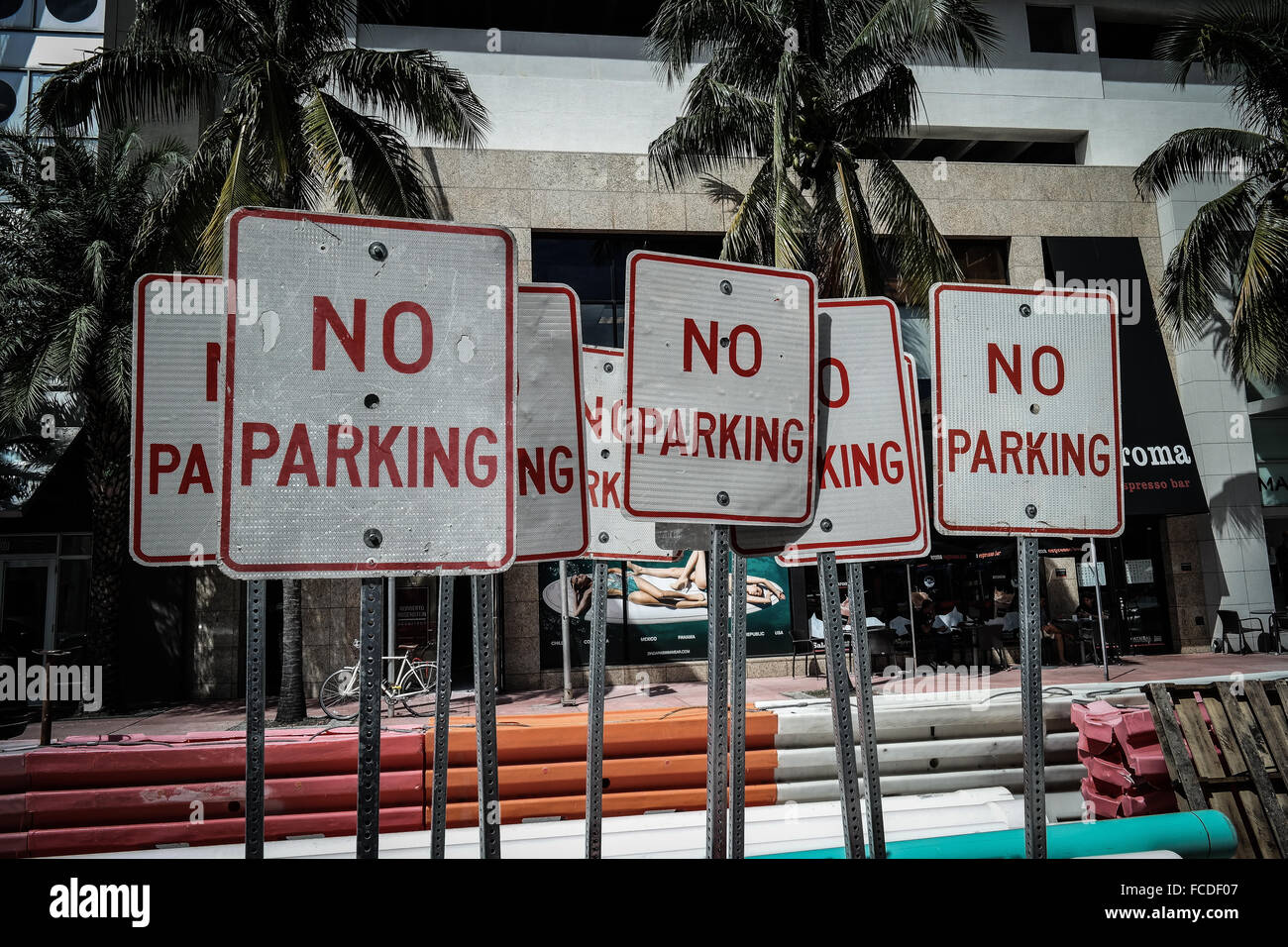 No Parking Signboards Against Building - Stock Image