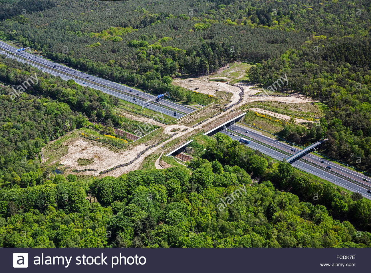 Netherlands, Hilversum, Ecoduct over A27 highway. Aerial ...