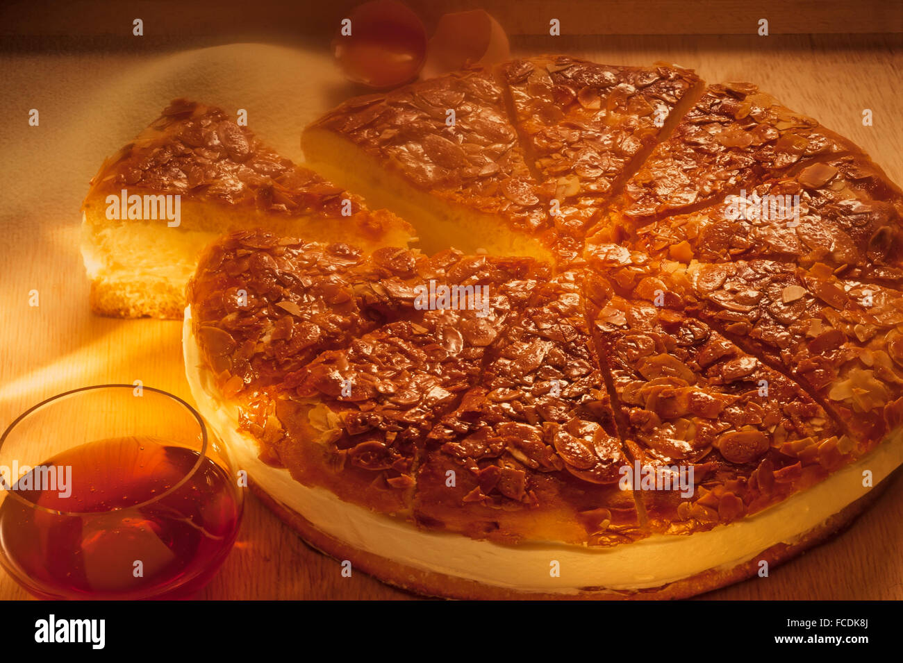 Freshly baked Bienenstich or Bee sting cake - Stock Image
