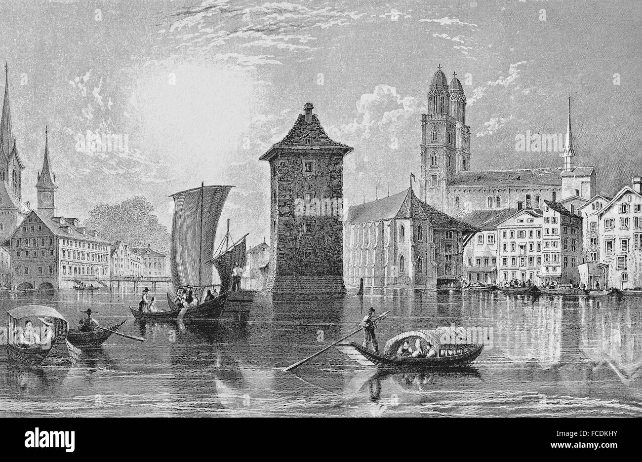Historic cityscape, steel engraving, river Limmat and Grossmünster, 1835, Zurich, Switzerland - Stock Image