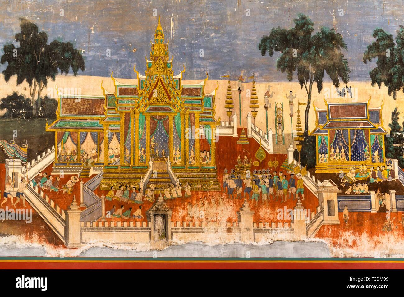 Mural from the Ramayana epic, mural, Silver Pagoda, Royal Palace, Phnom Penh, Cambodia - Stock Image