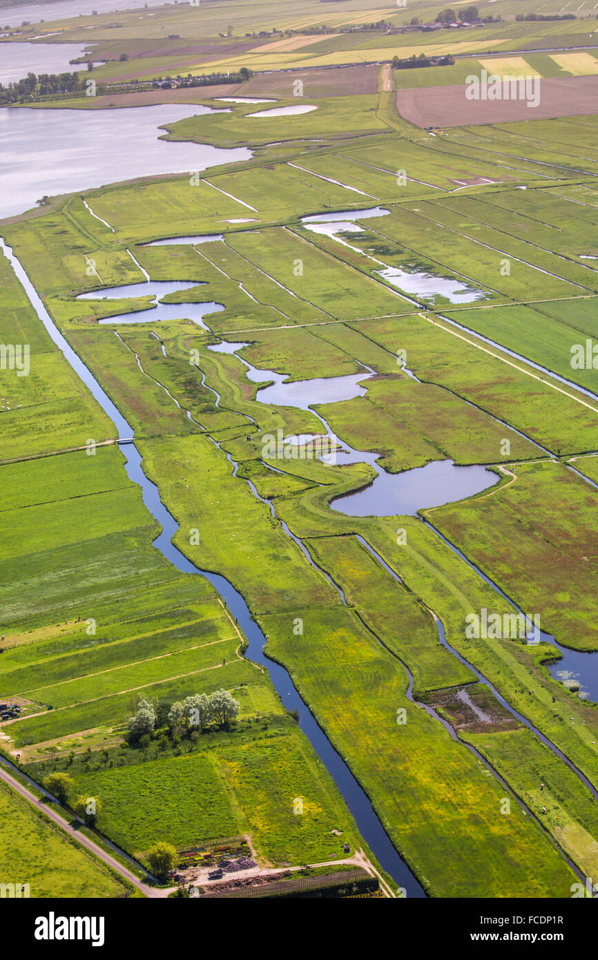 Netherlands, Eemnes, Border with the North Sea before land reclamation. The pools are leftovers from inundations Stock Photo