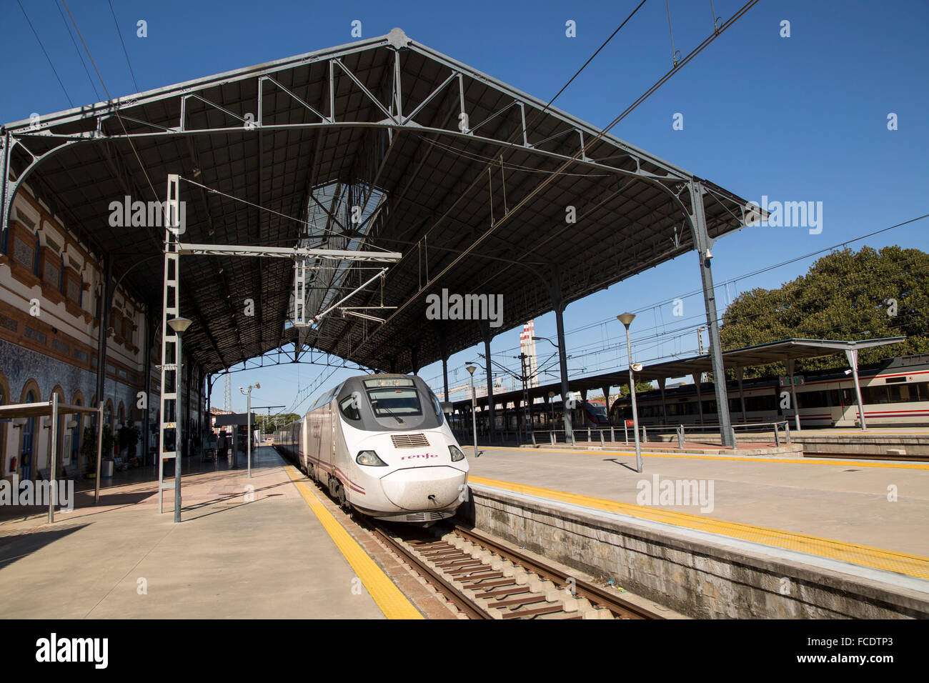 RENFE train at platform railway station, Jerez de la Frontera, Spain - Stock Image
