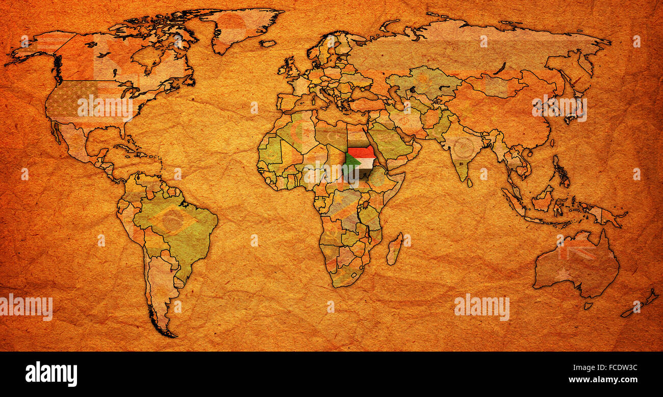 Sudan flag on old vintage world map with national borders stock sudan flag on old vintage world map with national borders freerunsca Image collections