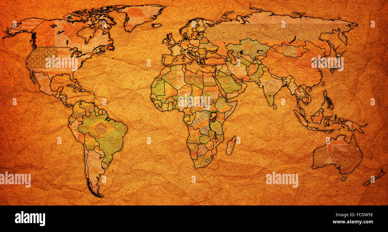 Uganda flag on old vintage world map with national borders stock uganda flag on old vintage world map with national borders gumiabroncs