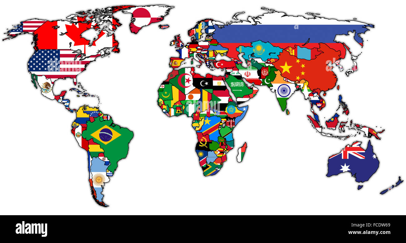 Flags On Isolated Over White World Map With National Borders Stock