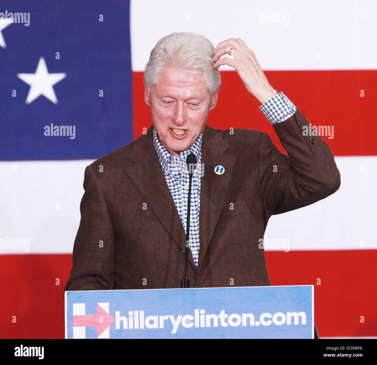 Las Vegas, Nevada, USA. 22nd Jan, 2016. Former President Bill Clinton campaigns for wife Hillary Clinton on January - Stock Image