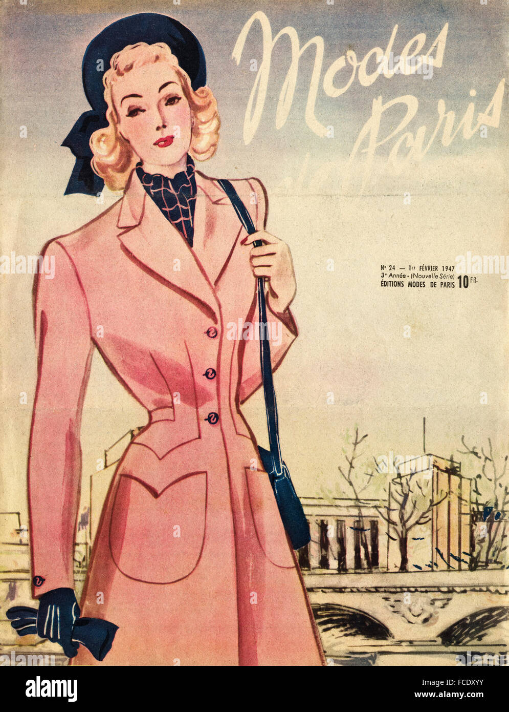 Cover Of Original Vintage French Fashion Magazine Modes De