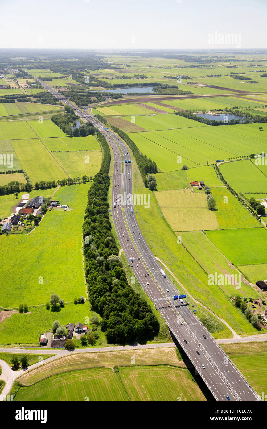 Netherlands, Zwolle, A50 highway. Aerial - Stock Image
