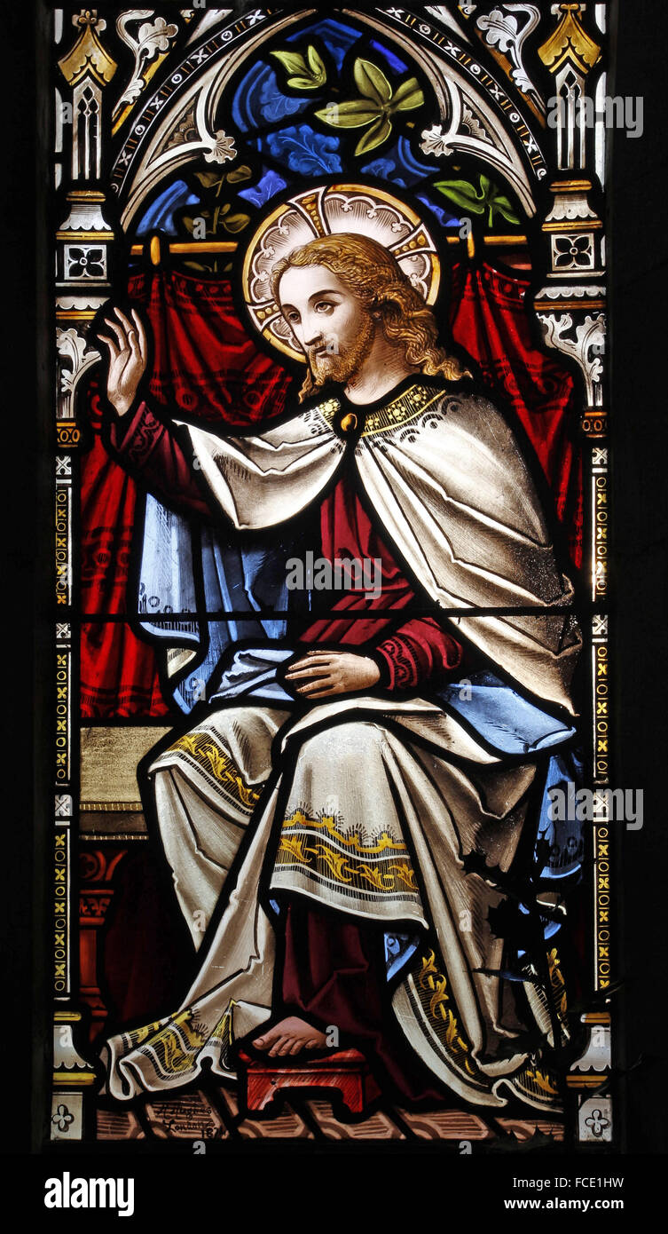 Stained glass window depicting Jesus in the Parable of Mary and Martha, All Saints Church, Beighton, Norfolk - Stock Image