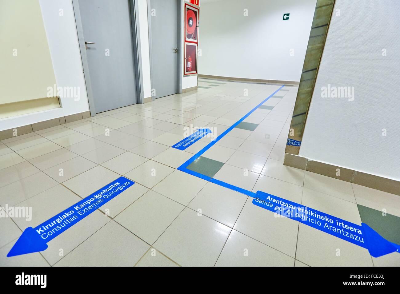 Corridors with signage, Ambulatory Surgery, Hospital Donostia, San Sebastian, Gipuzkoa, Basque Country, Spain - Stock Image