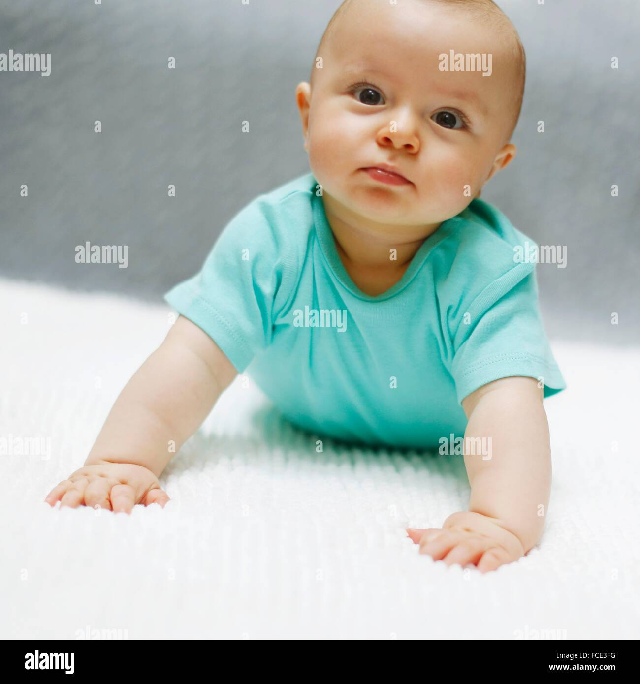 Portrait of a 8 months baby boy - Stock Image