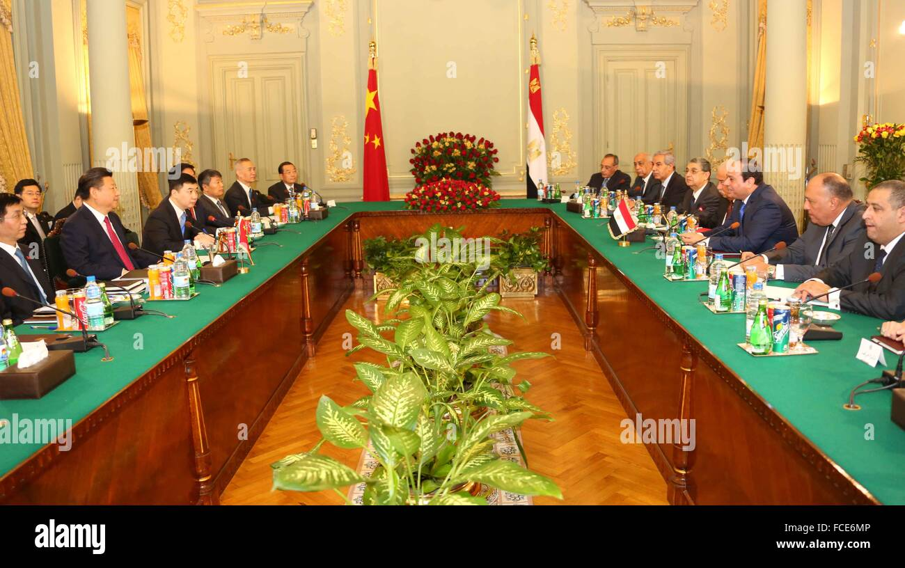 Chinese President Xi Jinping in Cairo for a two-day visit to Egypt to discuss bilateral cooperation with Egyptian - Stock Image