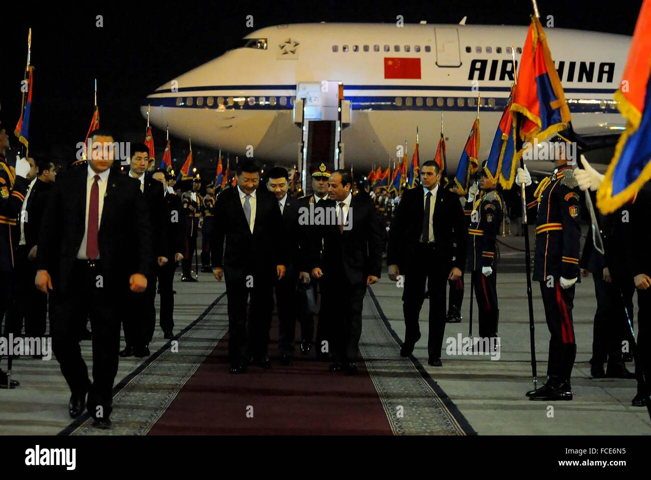 Chinese President Xi Jinping arrived in Cairo on Wednesday for a two-day visit to Egypt to discuss bilateralcooperation. - Stock Image