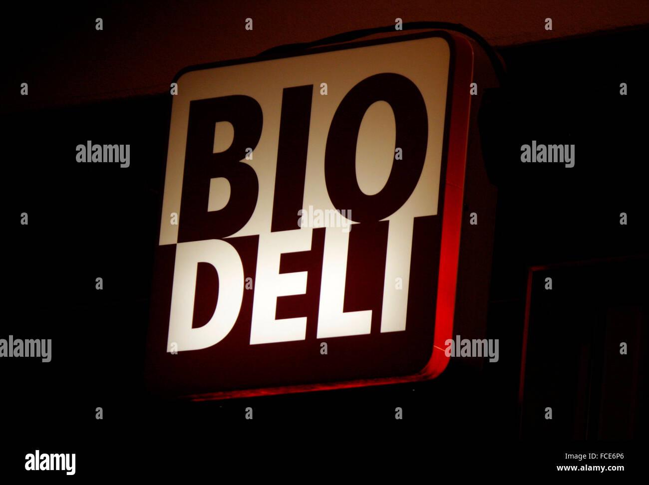 Markenname: 'Bio Deli', Berlin. - Stock Image