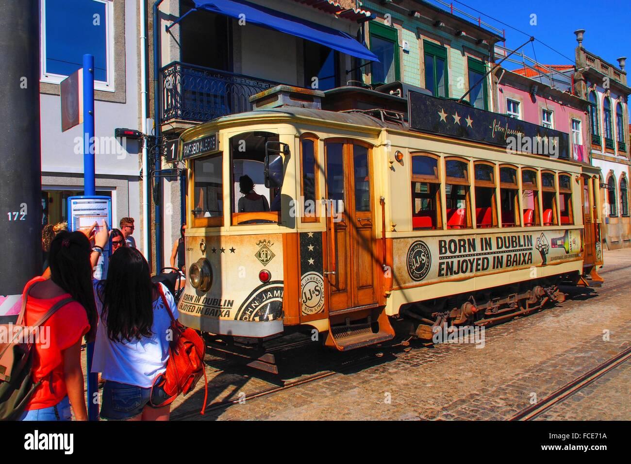 Tramway at Passeio Alegre, Porto, Portugal - Stock Image