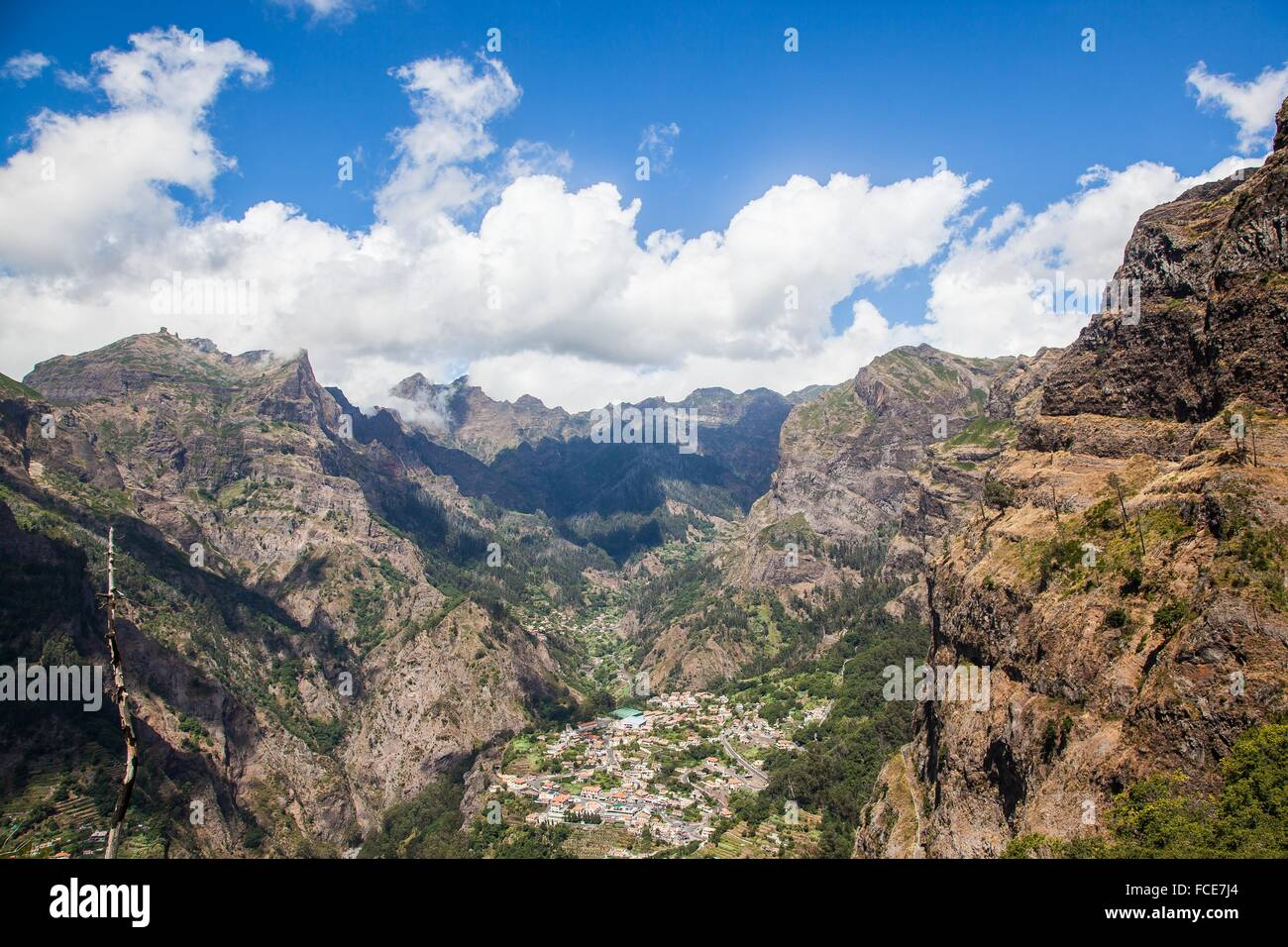 Madeira Island, Curral das freiras, view of the valley and the village - Stock Image