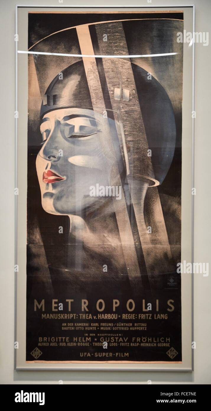 Poster for the UFA movie Metropolis by Fritz Lang, Werner Graul, 1926, Deutsches Historisches Museum, Berlin, Germany - Stock Image
