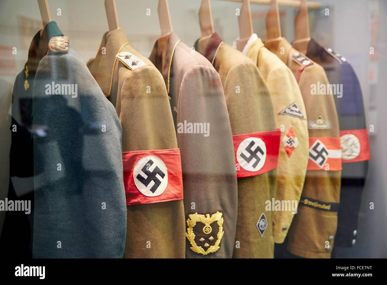Real Nazi uniforms, Deutsches Historisches Museum, Berlin, Germany - Stock Image
