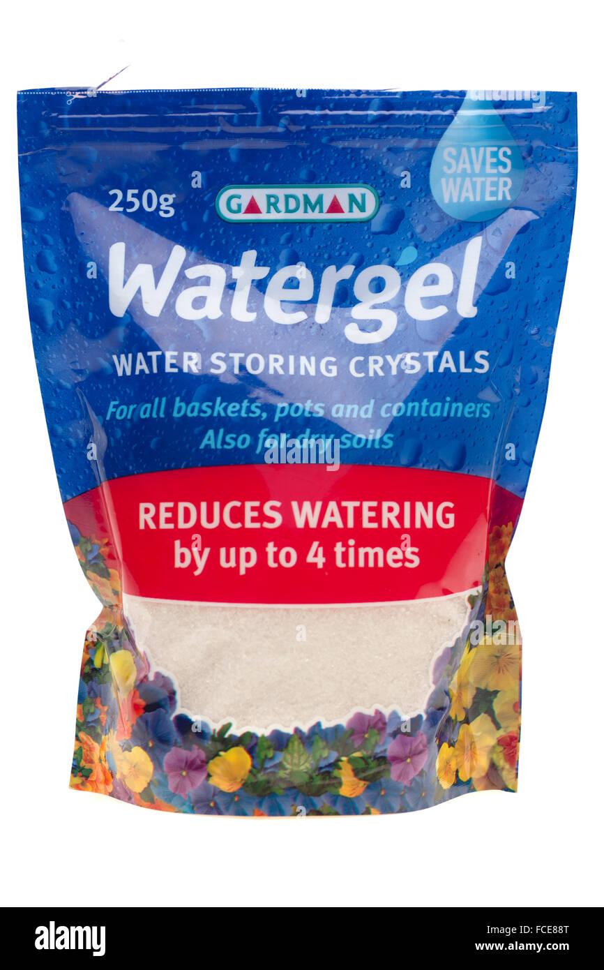 Scissor cut on a self seal bag of Gardman Watergel water storing crystals - Stock Image