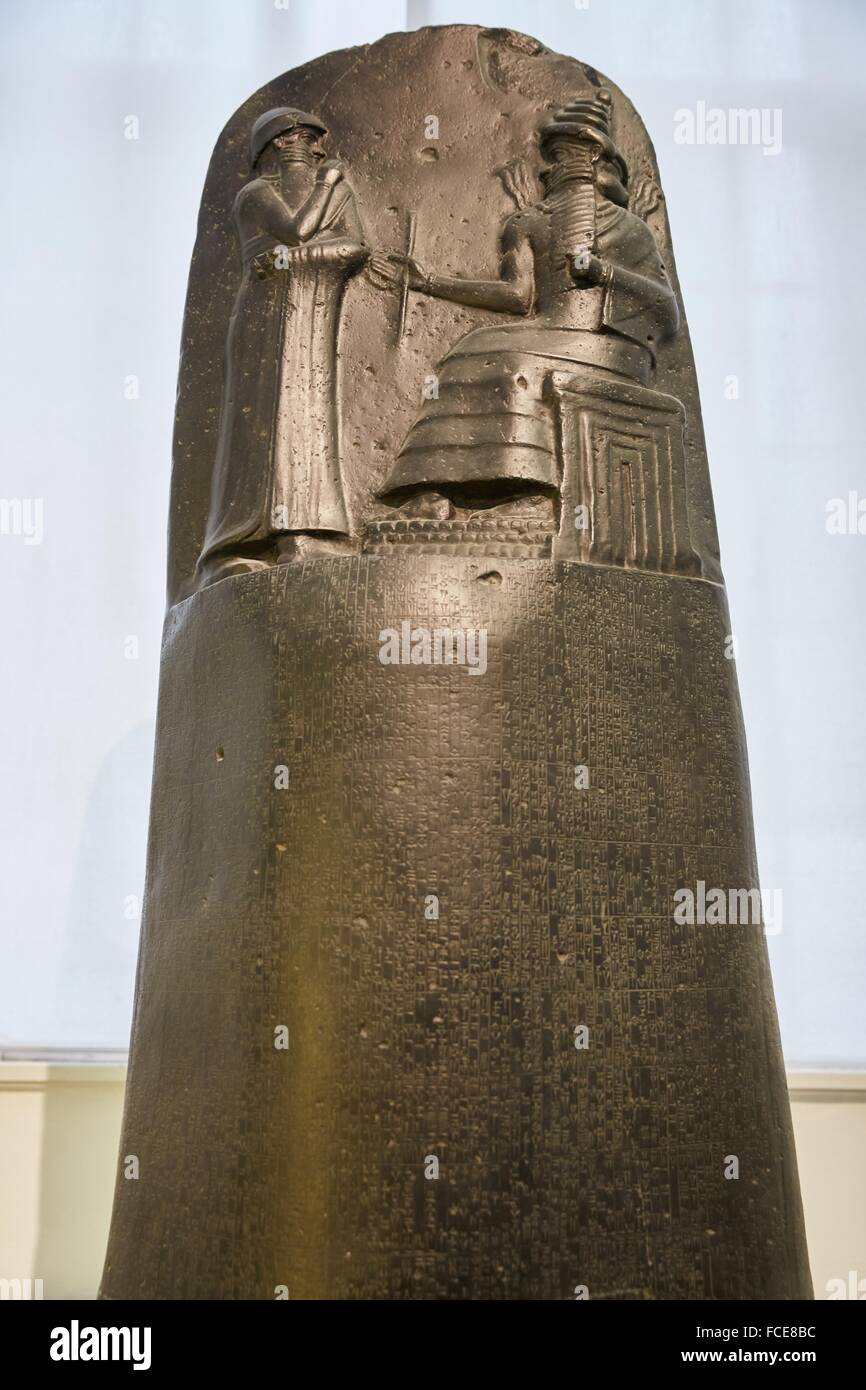 Codex Hammurapi , Babylon, Pergamon Museum, Berlin, Germany. - Stock Image
