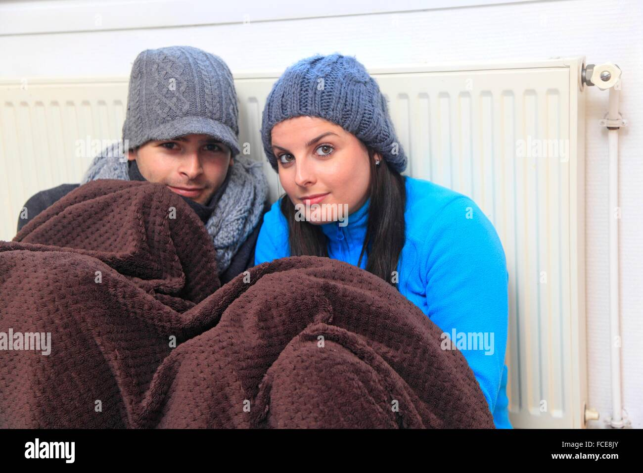 France, young couple dressed warmly - Stock Image