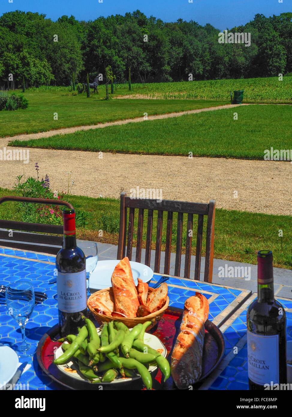 Lunch at Les Cultures de Puygareau charming guestouse, Sossay, Vienne, Poitou-Charentes, France - Stock Image