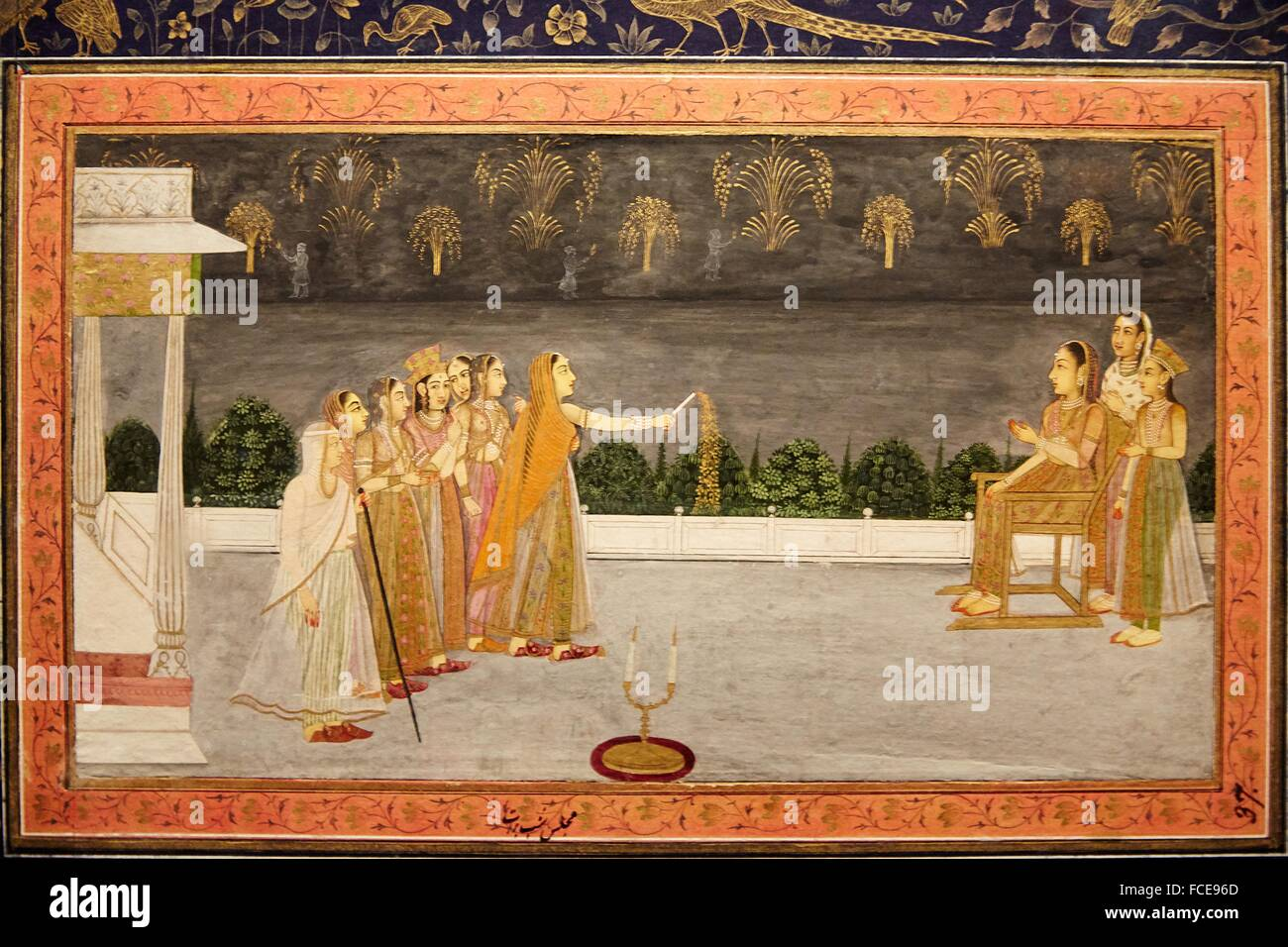 mughal miniature painting islamic art india pergamon museum stock photo 93742277 alamy. Black Bedroom Furniture Sets. Home Design Ideas